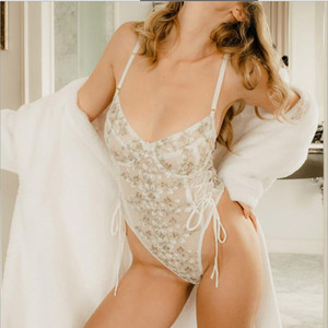 CHINA New lace mesh see-through embroidery strappy bodysuit Hot sexy temptation underwears Custom design mixed color home underwear