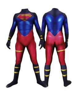 DC de dibujos animados Justice League hombres de azul musculares Superman pantalones ajustados pantalones ajustados de una sola pieza medias Superman traje de Cosplay xeA0e