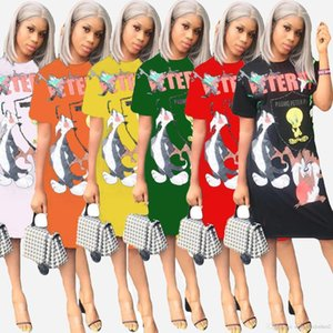 Vestido das mulheres vestidos soltos Sexy Womens vestidos 3D Printed Summer manga curta Ladies Casual Designer Crew Neck