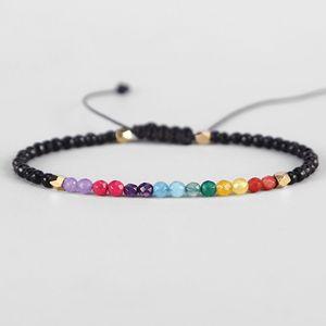 12 Constellation Lucky Stone Balance 7 Chakra Bracelet 3mm Beads Reiki Buddha Prayer Adjustable Bracelets for Women