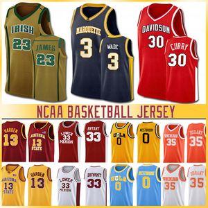 221-Men NCCA Jersey Ja Erkekler LeBron Moran Durant Harden Curry Stephen kolej basketbol Formalar Russell Westbrook Zion Iverson Williamson