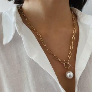 Collana girocollo Boho epoca barocca pendente della perla per le donne ragazze gioielli collana di dichiarazione da sposa punk imitazione Pearl Beads Charm Beach