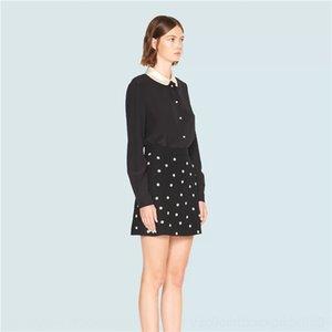 2020 18kCu Herbst neue schwarze Perlen mit Diamanten besetzte Enges Kleid Taille A- Linie Beaded- LINE DRESS Schürze Eine Schürze hohe Hüfte bedeckten Ski At6WC