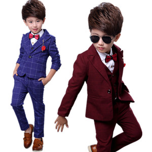 Fashion Boys Formal Wedding Suit Kids Plaid Blazer Vest Pants for Party Dress Child Tuxedo Teens Performance Costume F283