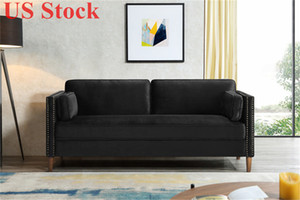 US Stock 2P+3P Living Room Black Sofa Comfortable & Stable Multi-Seat Sofa W308S00004