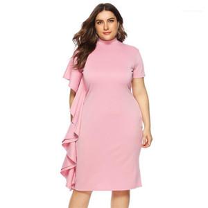 Women Dress Plus Size Women Designer Dresses Fashion Pink Color Short Sleeve Ruffle Dresses Casual Solid Color
