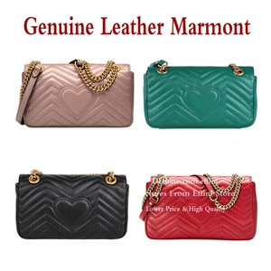 최고 품질 무료 원래 상자 Marmont 가방 핸드백 지갑 디자이너 패션 여성 어깨 크로스 바디 가방 정품 가죽 누비 이불 체인 가방