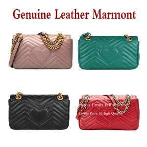 Marmont Shoulder Bag 패션 토트 크로스 바디 가방 정품 가죽 여성 핸드백 지갑 사랑 하트 v 파도 고품질 레이디 퀼트 체인 가방