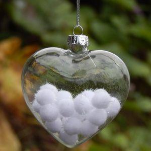 16pcs pack Width=6cm Heart Shaped Transparent Glass Pendant Christmas Glass Hanger Wedding Decoration Hanger