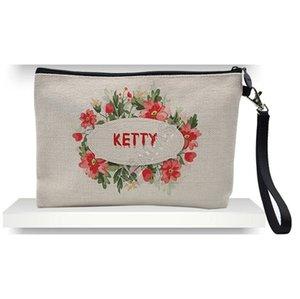 Designers Thickened Linen Bags Bag Cosmetic D92408 Storage Thermal Transfer Sublimation Blank Clutch DIY Plain Women Handbag Zipper Hstjr