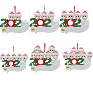 PVC 2020 muñeco de nieve adorno de navidad el árbol de navidad de cuarentena pendiente regalo de la decoración de la familia de ornamento con máscara mano Sanitized