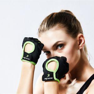 Malha meia luvas de dedos Anti Slip respirável Yoga Esporte Biking luva para mulheres dos homens de moda vai e areia nova