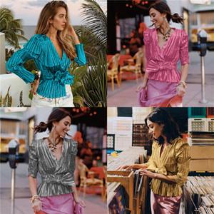 Женская конструктор Gold Stamp Блузы с Bow длинным рукавом V-образным вырезом Дамы Уличная Рубашки Весна Осень моды сплошной цвет одежды