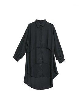 Sleeved Gömlek Moda Düzensiz Dikiş Uzun Gömlek Etek Erken Bahar Tasarımcı Woemns Yeni Uzun