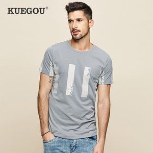manga corta de la camiseta de los hombres impresos elásticos delgados KUEGOU algodón de los hombres de las camisetas de la moda de verano los hombres de la camiseta superior más tamaño UT-09361