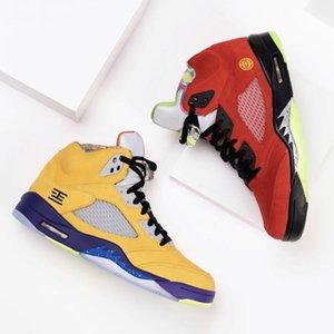 Con Box What The 5 Mens scarpe da basket CZ5725-700 Varsity Maize fantasma solare verde arancione retrò 5s addestratori degli uomini di sport scarpe da tennis 7-13