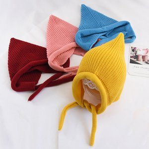 Autumn winter children's hats for boys and girls candy-colored knitted ear muffs caps baby warm elf caps can be used as shawls lxj082