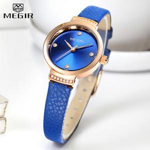 MEGIR Ladies Watch Fashion And Elegant Quartz Clock Ladies Leather Strap Small Dress Ladies Watch Waterproof Female Clock Reloj Mujer