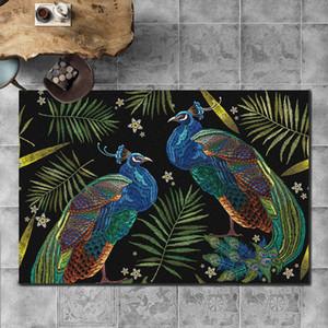 새로운 골드 다이아몬드 플러시 카펫 거실 침실 동물 깃털 공작 바닥 매트 커피 테이블 매트 장식 홈 인쇄