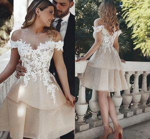 2021 Champagne Ivory Short Wedding Dresses Reception Off The Shoulder Lace Applique Unique Tulle Two Layers A-line Party Dress For Bride