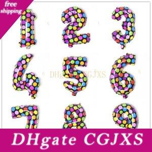 다채로운 라운드 점 알루미늄 코팅 번호 풍선 어린이 장난감 생일 파티 결혼 선물 장식 Cca11810의 500PCS를 16 인치