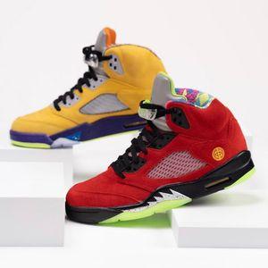 Alta calidad cuáles son los colores 5 para hombre zapatillas de baloncesto del equipo universitario mixtos CZ5725-700 maíz Fantasma Verde Naranja Solar 5S hombres entrenadores deportivos zapatillas de deporte