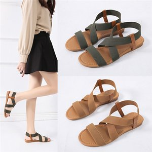 2020 Sandals Women Low Heel Anti Skidding Beach wimen's Shoes Woman Cross Strap Sandals Peep-toe Tenis Feminino