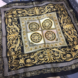 New 90*90 Famous Style 100% Silk Scarves of Woman and Men Solid Color Gold Black Neck Print Soft Fashion Shawl Women Silk Scarf Square White