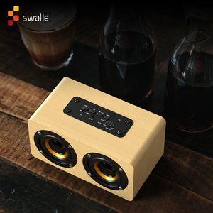 Swalle AUX Wooden Wireless Bluetooth Speaker Portable HiFi Bass Altavoz TF Soundbar for Mobile Phone