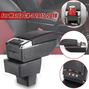 For CX 3 CX-3 2020 - 2020 LED Centre Console Armrest Box Storage Box Ashtray Cup Holder PU Leather Car Organizer