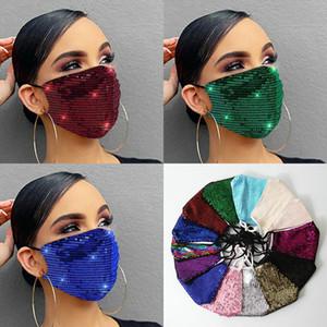 Yüz Maskesi Moda Lady Salon Blingbling Madeni Pul Pullu Tasarımcı Lüks Maske Yıkanabilir Kullanımlık Yetişkin Mascarillas Koruyucu Ayarlanabilir Halat