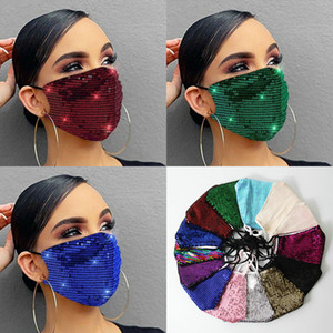 Máscara facial Moda Senhora Salão Blingling Paillette Lantejoulas De Louva Máscara Luxo Lavável Reitável Adulto Mascarillas Corda Ajustável Protetora