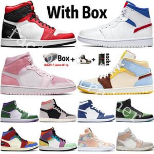 2020 Nouvelle arrivée Jumpman 1 1s Hommes Chaussures de basket haute OG Dio UNC Tie-dye numérique rose Serpents Chicago Femmes Sports Chaussures de sport pour hommes Formateurs