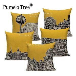 Vintage Gebäude Yellow Dekokissen Farmhouse Hotel-Büro-Party Kissenbezüge Stilvolle Lendenwirbelhaushaltsartikel Dekorative Pillowcase