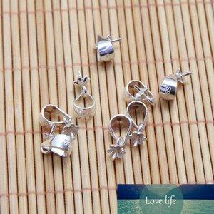 100 fianza pieza brillante plata esterlina W / De Pin colgante de perlas de cierre deslizante / reborde de tapón / conector brillante fianza de 3 mm platino, plata 4mm