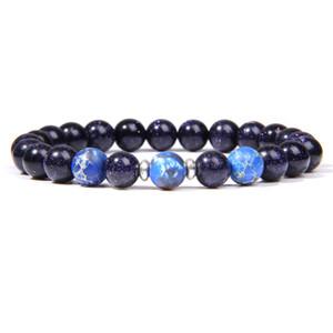 Shiny Blue Sandstone Bracciali Moda Uomo 2020 di vendita caldi 8 millimetri gioielli imperiali Jaspers Perle naturali della pietra di gemma di guarigione Energia