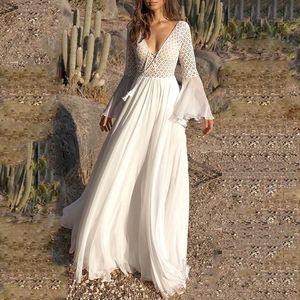 OUSHANG Bohoartist Женщины платья Длинные Flare рукав V шея White Hollow Boho Lace Maxi платье отдых Летние женские платья