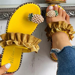 Elegant Women Slipper Pineapple Pearl Flat Toe Bohemian Casual Shoes Summer Beach Sandals Ladies Shoes Platform Sandalias De Mujer