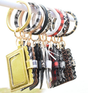 12styles Bracelet Purse Keychain Women Tassels Bracelets PU Leather Wrap Key Ring Bangle Wristlets Coin Purses Card Holder Bag GGA3634-4