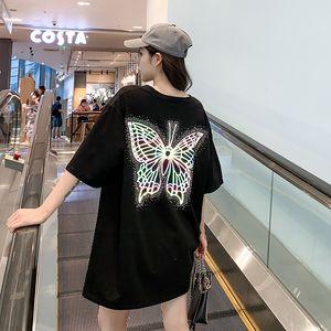 e9ii6 2020 mi-longueur à la mode à manches courtes femmes été nouveau style coréen T-shirt personnalisé haut papillon lâche fluorescent Top T-sh