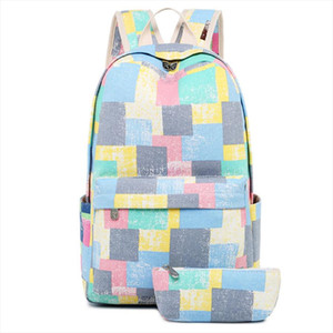 2 pcs Cute Canvas Student Girl School Backpacks For Teenager Girls Leisure Knapsacks Shoulder Bags Travel Backpack Preppy