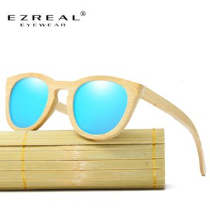Ezreal Men Women 100% Natural Bamboo Wooden Sunglasses Handmade Polarized Mirror Coating Lenses Eyewear with Gift Box