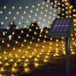 عيد الميلاد الشمسية LED شبكة صافي ضوء سلسلة 1.1X1.1M / 2X3M في الهواء الطلق حديقة ستارة النافذة صافي الجنية ضوء سلسلة جارلاند