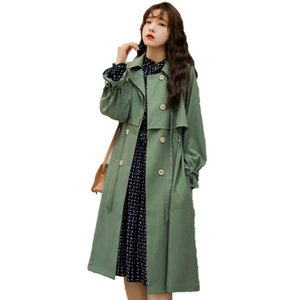 2020 New Spring Casual Loose Cotton Trench Coat High Quality Oversize Double Breasted Vintage Cloak Overcoats Windbreaker 01F