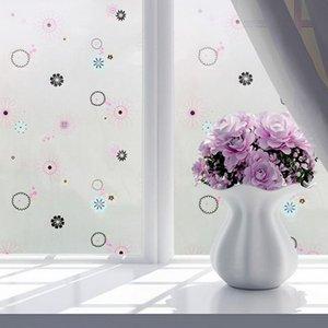45 * 100CM / 45 * 200CM Матовый Цветочный печати Защита Солнцезащитный тепла Оконная пленка ПВХ Покрытие конфиденциальности Ванна стекло наклейки Home Decor