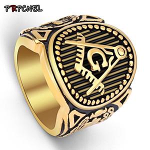 7-15 Größe Goldfarbe Mason Siegelring-Goldfarben-Freimaurer Freimaurer Ringe für Männer Edelstahl Freimaurer Schmuck