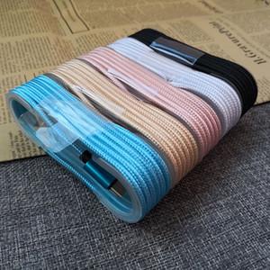 Linha de dados trançado tipo C Cable 1.5m / 5FT metal ficha de carregamento para Samsung S8plus S8 Moto2 HTC Ultra U 6color