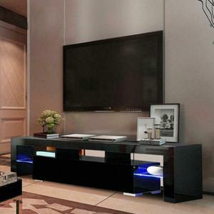 Unité à haute brillance Meuble TV stand avec étagères LED Lights Home Furniture byko #