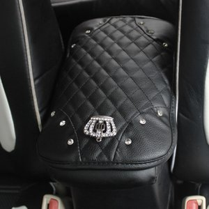 Crystal Rhinestone Car Armrests Cover Pad PU Leather Vehicle Center Console Arm Rest Box Cushion Covers Protector Car accessorie