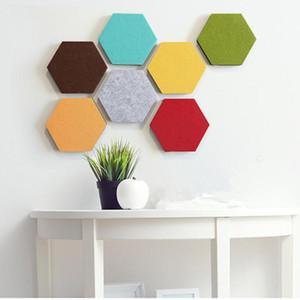 Hexagon Stickers muraux auto-adhésifs Panneaux en tôle Felt Solide Couleur Autocollant Mural Stickers muraux Babillard décoratif DHC1115